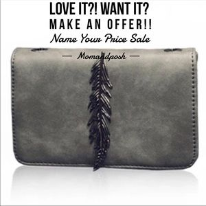 Handbags - LAST Gray Leather Feather detail messenger clutch